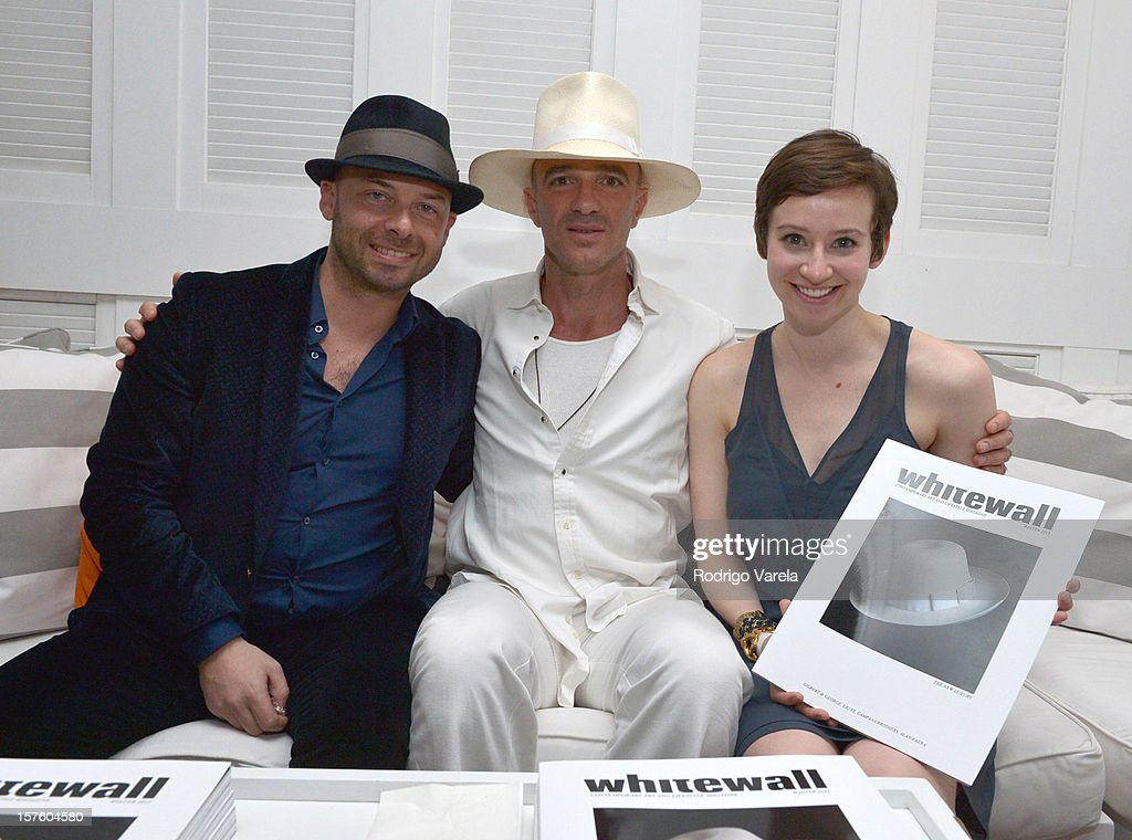 Whitewall CEO Michael Klug, Alan Faena and Editor in Chief Katy Donoghue attend the Whitewall Magazine Party At Delano Beach Club at Delano Beach Club on December 4, 2012 in Miami Beach, Florida.