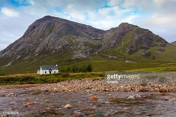Whitewashed cottage in the Scottish Highlands.