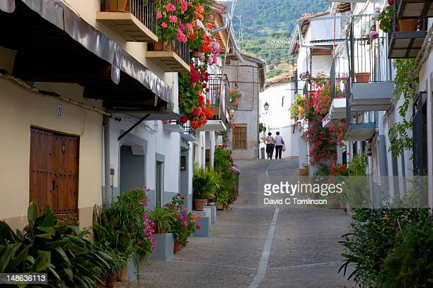 whitewashed houses decorated with flowers. - extremadura stock pictures, royalty-free photos & images