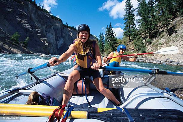 whitewater rafting on the lower elk river, british columbia - whitewater rafting stock pictures, royalty-free photos & images