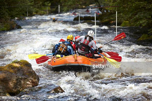 whitewater rafting. river tryweryn, north wales - water sport stock photos and pictures