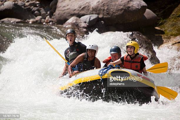 Whitewater rafting through rapids