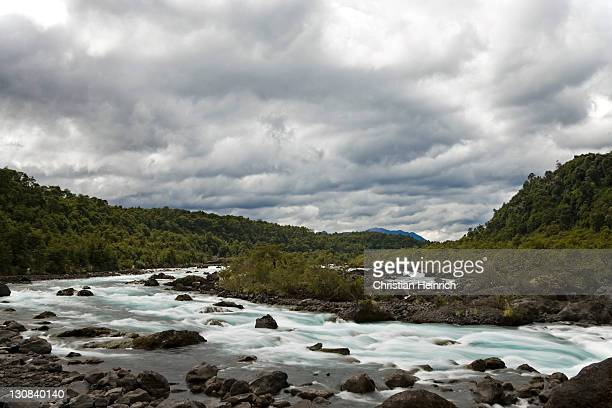 whitewater river rio petrohue at the volcan osorno, chile, south america - petrohue river stock photos and pictures