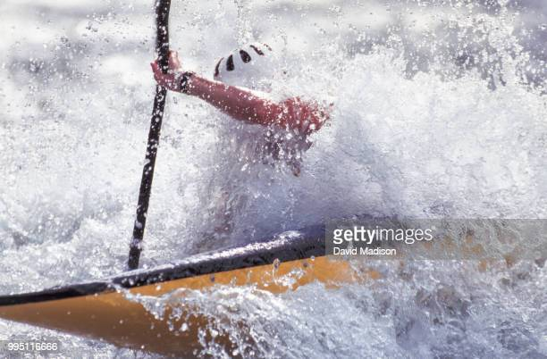 whitewater slalom kayaker - swift river stock photos and pictures