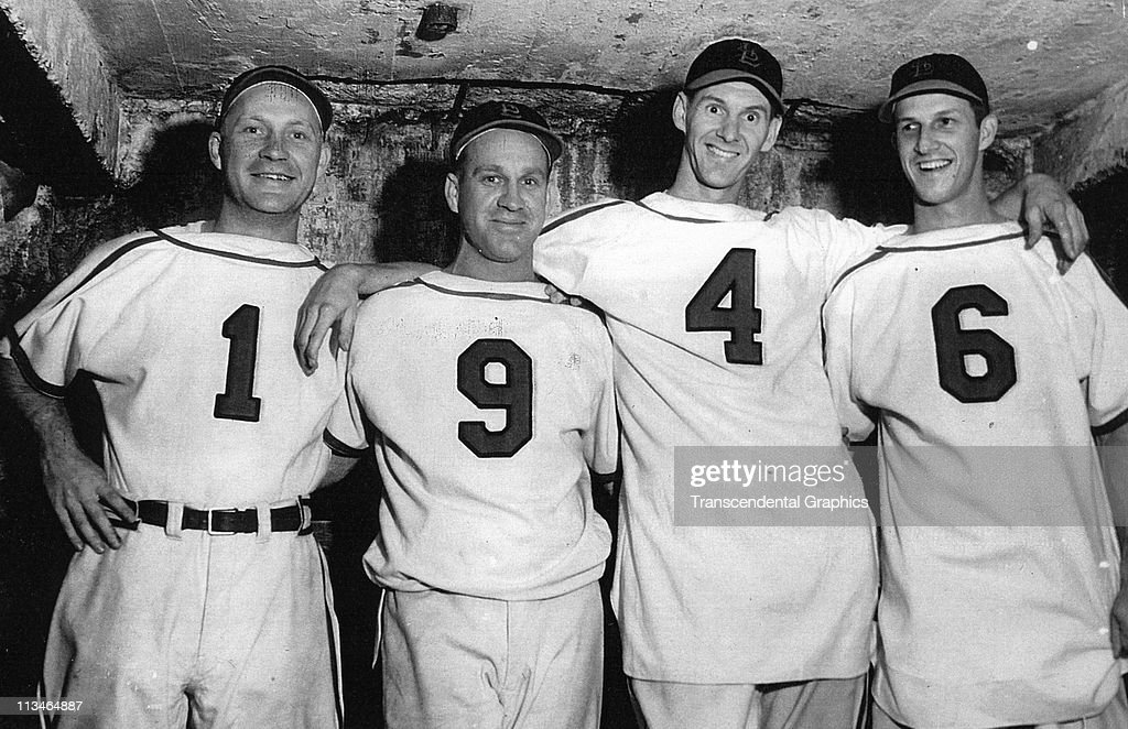 Whitey Kurowski, Enos Slaugher, Marty Marion and Stan Musial of St. Louis Cardinals pose for a portrait at Sportsmans Park on April, 1946 in St. Louis, Missouri.