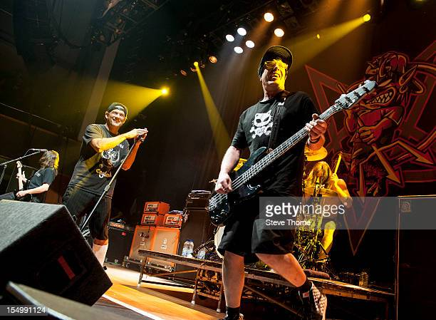 Whitfield Crane and Cordell Crockett of Ugly Kid Joe perform on stage at the Civic Hall on October 25 2012 in Wolverhampton United Kingdom