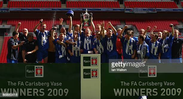 Whitley Bay players celebrate with the trophy after winning the FA Vase Final between Glossop North End and Whitley Bay at Wembley Stadium on May 10,...