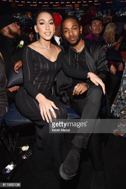 Whitney Alford and recording artist Kendrick Lamar attend the 60th Annual GRAMMY Awards at Madison Square Garden on January 28 2018 in New York City