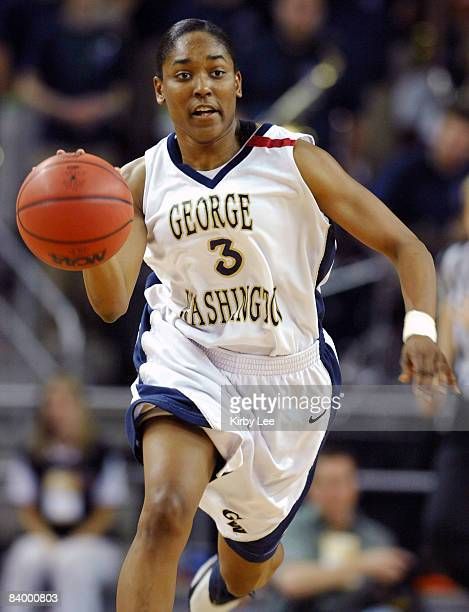 Whitney Allen of George Washington dribbles upcourt during 7667 victory over Boise State in the NCAA Women's Basketball Tournament firstround game at...