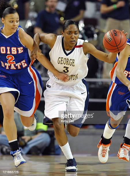 Whitney Allen of George Washington is defended by Jackie Lee of Boise State in the NCAA Women's Basketball Tournament firstround game at the Galen...