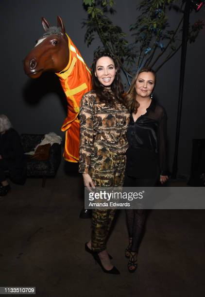 Whitney Cummings and Dalia MacPhee pose with MacPhee's fire resistant GPS horse blanket at The Animal Hope Wellness Foundation's 2nd Annual...