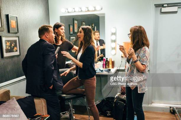 Whitney Cummings chats in the green room with James Corden during 'The Late Late Show with James Corden' Monday October 30 2017 On The CBS Television...