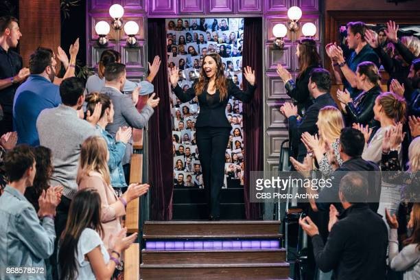 Whitney Cummings greets the audience during 'The Late Late Show with James Corden' Monday October 30 2017 On The CBS Television Network