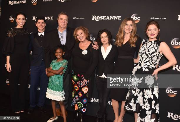 Whitney Cummings Michael Fishman John Goodman Jayden Rey Roseanne Barr Sara Gilbert Sarah Chalke and Emma Kenney attend the premiere of ABC's...