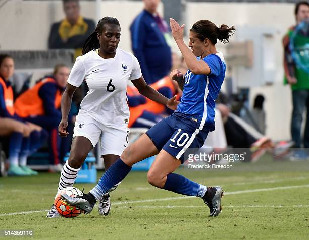Whitney Engen of France plays against Carli Lloyd of the USA in an international friendly match in the SheBelieves Cup at Nissan Stadium on March 6...