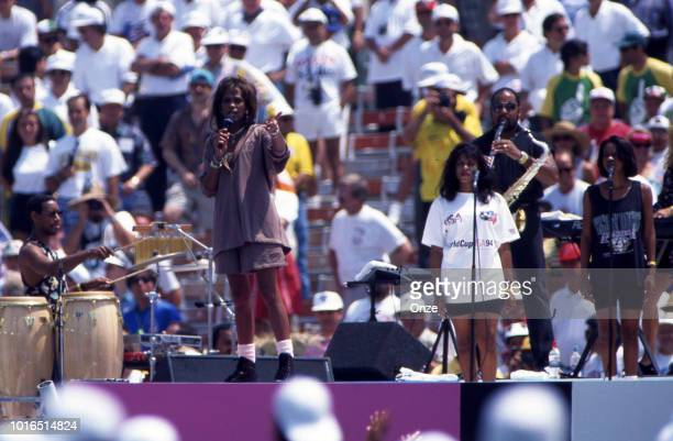 Whitney Houston american singer during the 1994 FIFA World Cup final match between Brazil and Italy at Rose Bowl on July 17 1994 in Los Angeles...