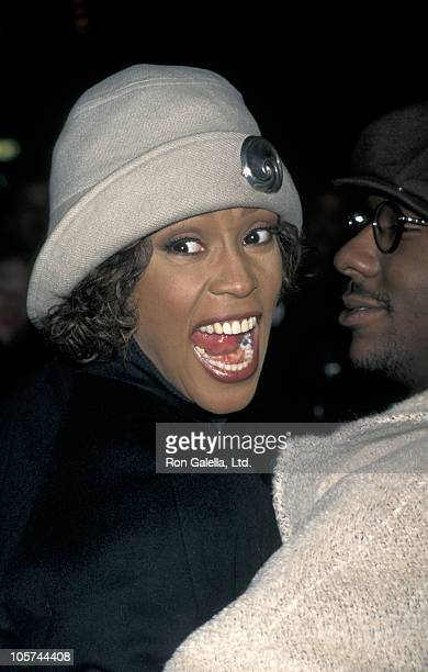 Whitney Houston and Bobby Brown during 'Cinderella' New York City Screening October 27 1997 at Sony Lincoln Square Theatre in New York City New York...
