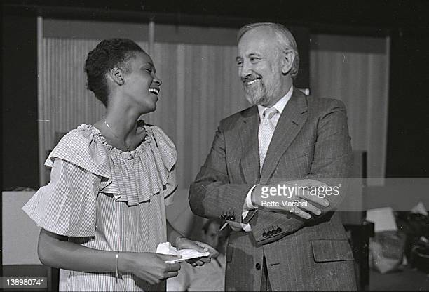 Whitney Houston and Bruce Lundvall then President of Elektra Records during her first audtion for a record label circa 1982 in New York New York