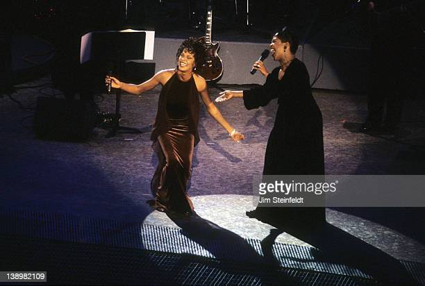 Whitney Houston and CeCe Winans perform at the Grammy Awards in Los Angeles California on February 28 1996