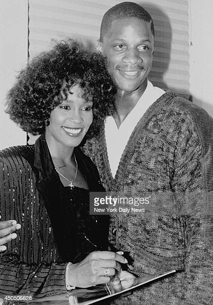 Whitney Houston and Darryl Strawberry after her performance at Jones Beach.