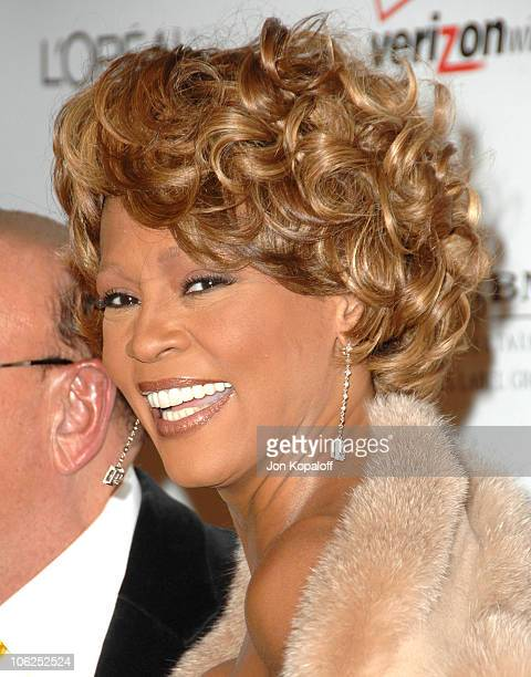 Whitney Houston during 2007 Clive Davis PreGRAMMY Awards Party Arrivals at Beverly Hilton Hotel in Beverly Hills California United States