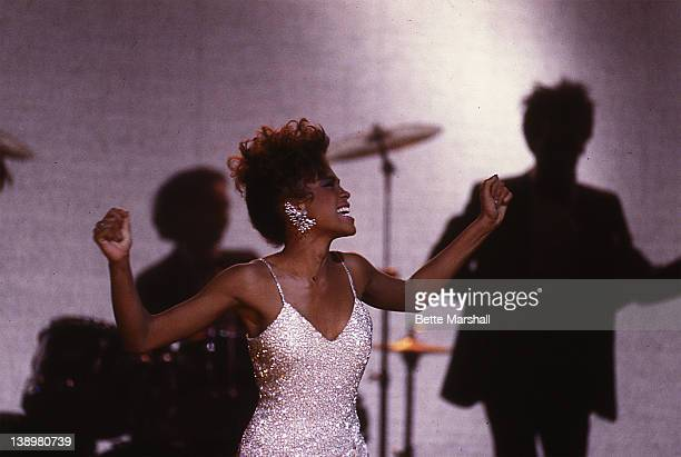 Whitney Houston is seen during the making of The Greatest Love Of All music video circa 1985 in New York City