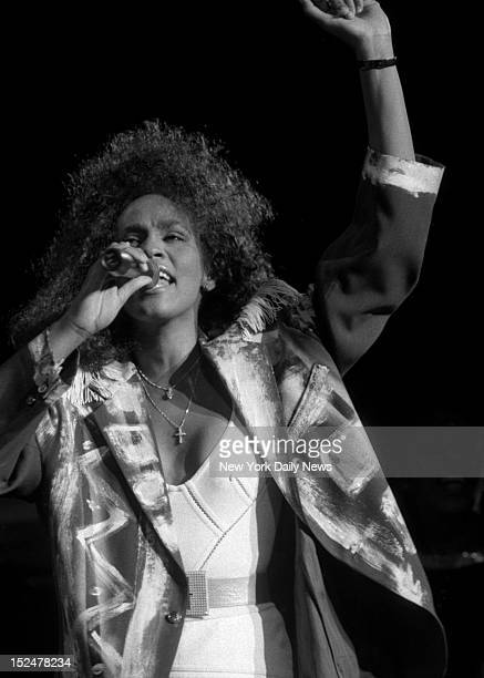 Whitney Houston on stage in concert Saturday at Madison Square Garden