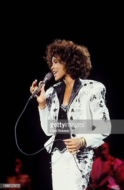 Whitney Houston performing at Jones Beach in New York on August 16, 1987.