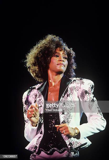Whitney Houston performing at the Jones Beach Theater in Wantagh, Long Island, New York on August 16, 1987.