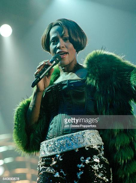 Whitney Houston performing on stage at Wembley Arena in London on the 15th September 1999