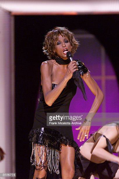 Whitney Houston performing on the Michael Jackson '30th Anniversary Celebration The Solo Years' concert at New York's Madison Square Garden Friday...