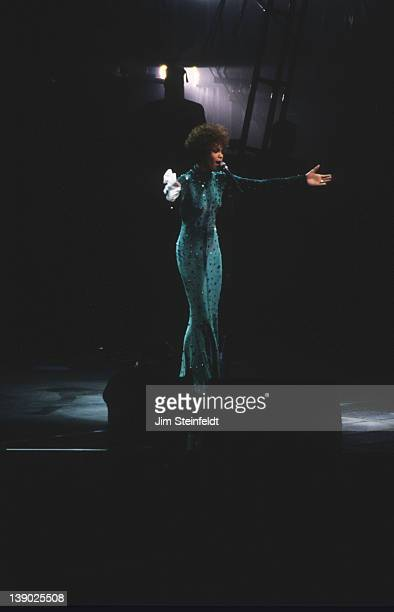 Whitney Houston performs on her 'I'm Your Baby Tonight World Tour' at the Target Center in Minneapolis Minnesota on April 27 1991