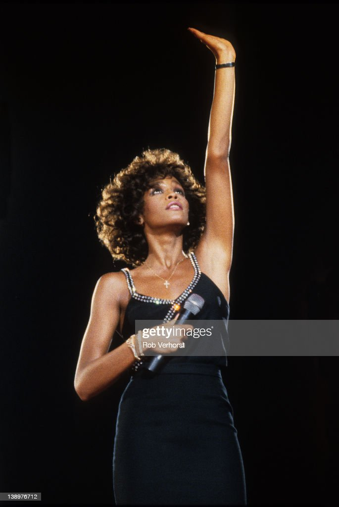 Whitney Houston performs on stage, Ahoy, Rotterdam, Netherlands, 23rd April 1988.