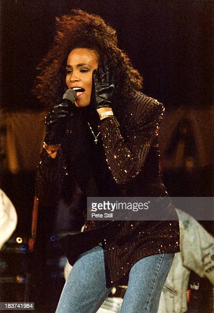 Whitney Houston performs on stage at the Nelson Mandela 70th Birthday Tribute concert at Wembley Stadium on June 11th 1988 in London England