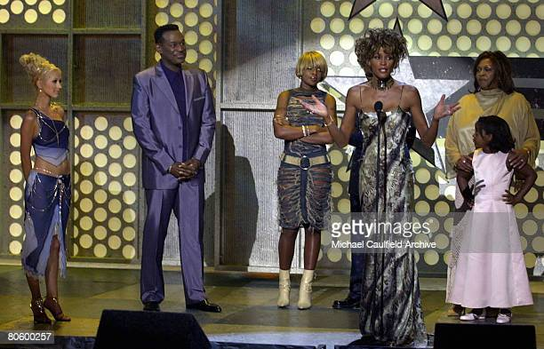 Whitney Houston speaks while Christina Aguilera Luther Vandross Mary J Blige Cissy Houston and Bobbi Kristina Brown listen during the 1st Annual BET...