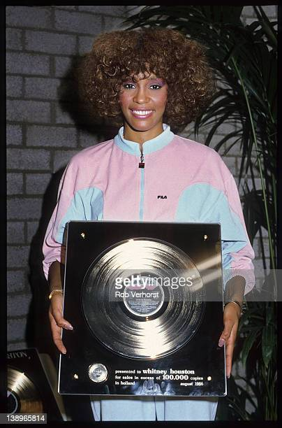 Whitney Houston, with Dutch Award for her debut album, Ahoy, Rotterdam, 21st October 1986.