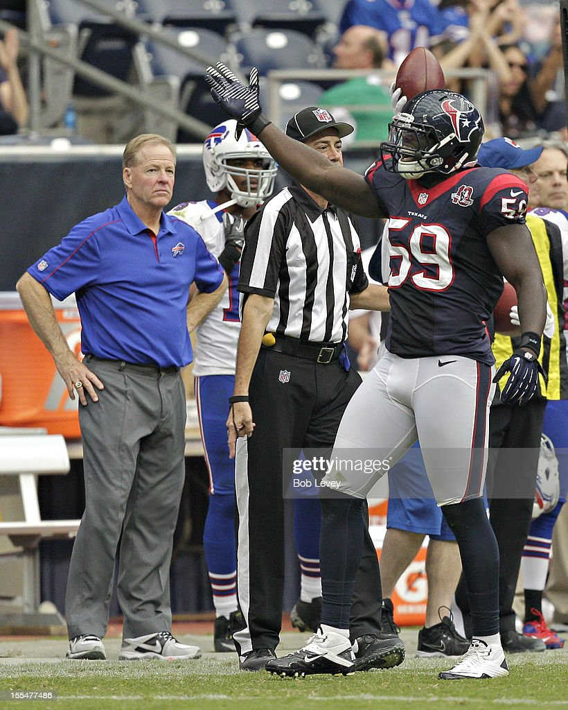 Whitney Mercilus #59 of the Houston Texans motions after making a stop against the Buffalo Bills at Reliant Stadium on November 4, 2012 in Houston, Texas. Houston defeated Buffalo 21-9.