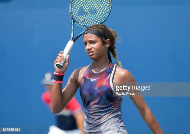 Whitney Osuigwe of USA reacts during qualifying game against Anna Blinkova of Russia at US Open 2017