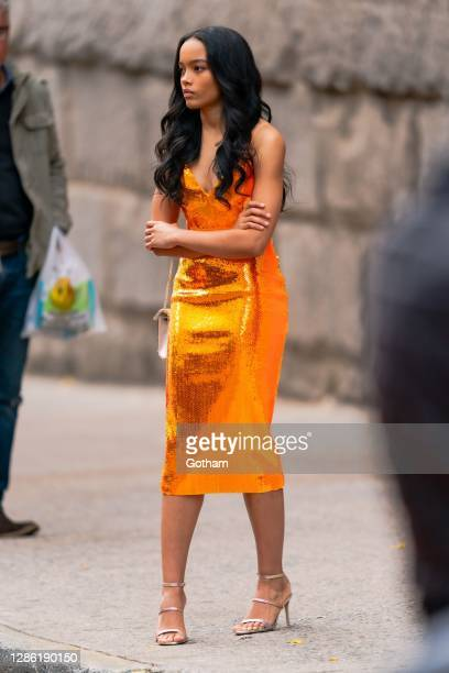 "Whitney Peak is seen filming a scene for ""Gossip Girl"" in the Upper East Side on November 17, 2020 in New York City."