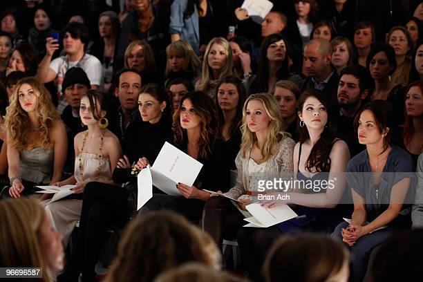 Whitney Port actresses Alexis Dziena Shenae Grimes Kristen Bell Michelle Trachtenberg and Mena Suvari attend the Rebecca Taylor Fall 2010 Fashion...