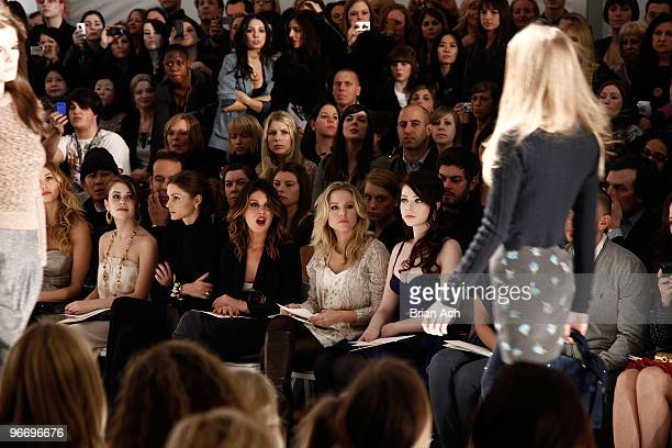 Whitney Port actresses Alexis Dziena Shenae Grimes Kristen Bell and Michelle Trachtenberg attend the Rebecca Taylor Fall 2010 Fashion Show during...