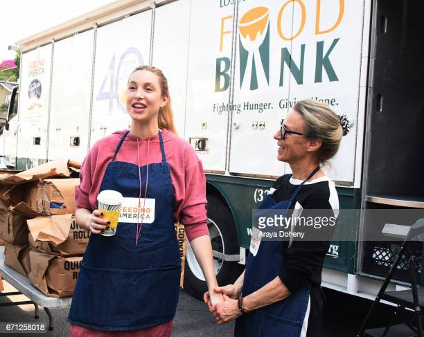Whitney Port and her mother Vicki Port volunteer with Cheeky and Feeding America at Los Angeles Regional Food Bank Fresh Produce Distribution on...