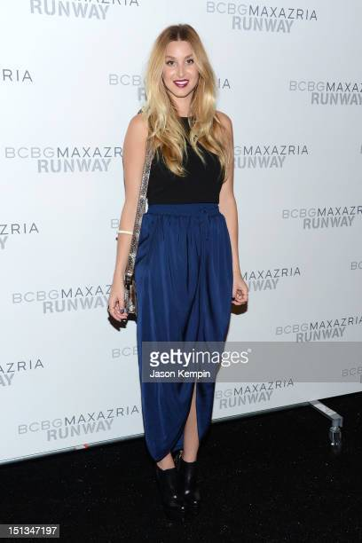 Whitney Port poses backstage at the BCBGMAXAZRIA Spring 2013 fashion show during MercedesBenz Fashion Week at The Theatre at Lincoln Center on...