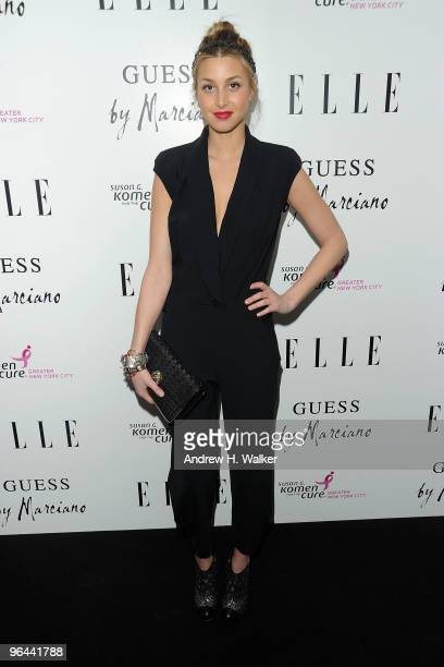 Whitney Port walks the red carpet during the Guess by Marciano and ELLE event benefiting the Susan G Komen Foundation at the Guess Boutique on...