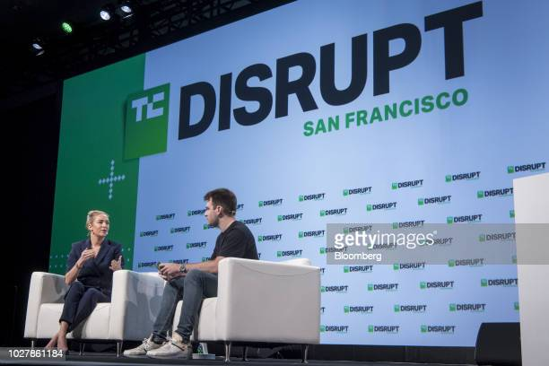 Whitney Wolfe, co-founder and chief executive officer of Bumble Trading Inc., left, speaks during the TechCrunch Disrupt 2018 in San Francisco,...