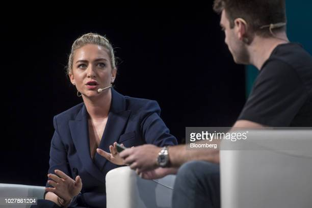 Whitney Wolfe, co-founder and chief executive officer of Bumble Trading Inc., speaks during the TechCrunch Disrupt 2018 in San Francisco, California,...