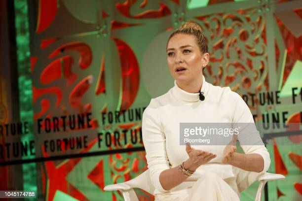 Whitney Wolfe Herd, founder and chief executive officer of Bumble Trading Inc., speaks during the Fortune's Most Powerful Women conference in Dana...