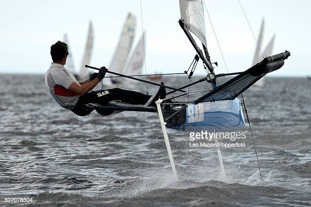 Whitstable Yacht Club Sailing Week Whitstable Kent UK Simon Reynolds GBR sailing his International Class Filing Moth