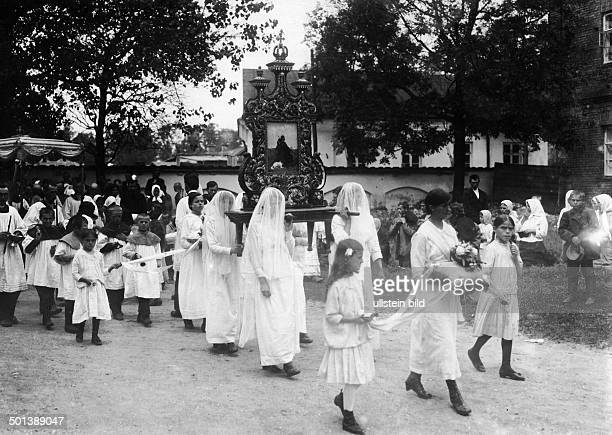 Whitsun procession of Polish catholics in Lida Russian Empire around 1915