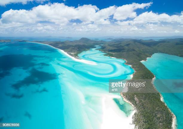 whitsunday islands, great barrier reef, queensland, australia - great barrier reef aerial stock pictures, royalty-free photos & images